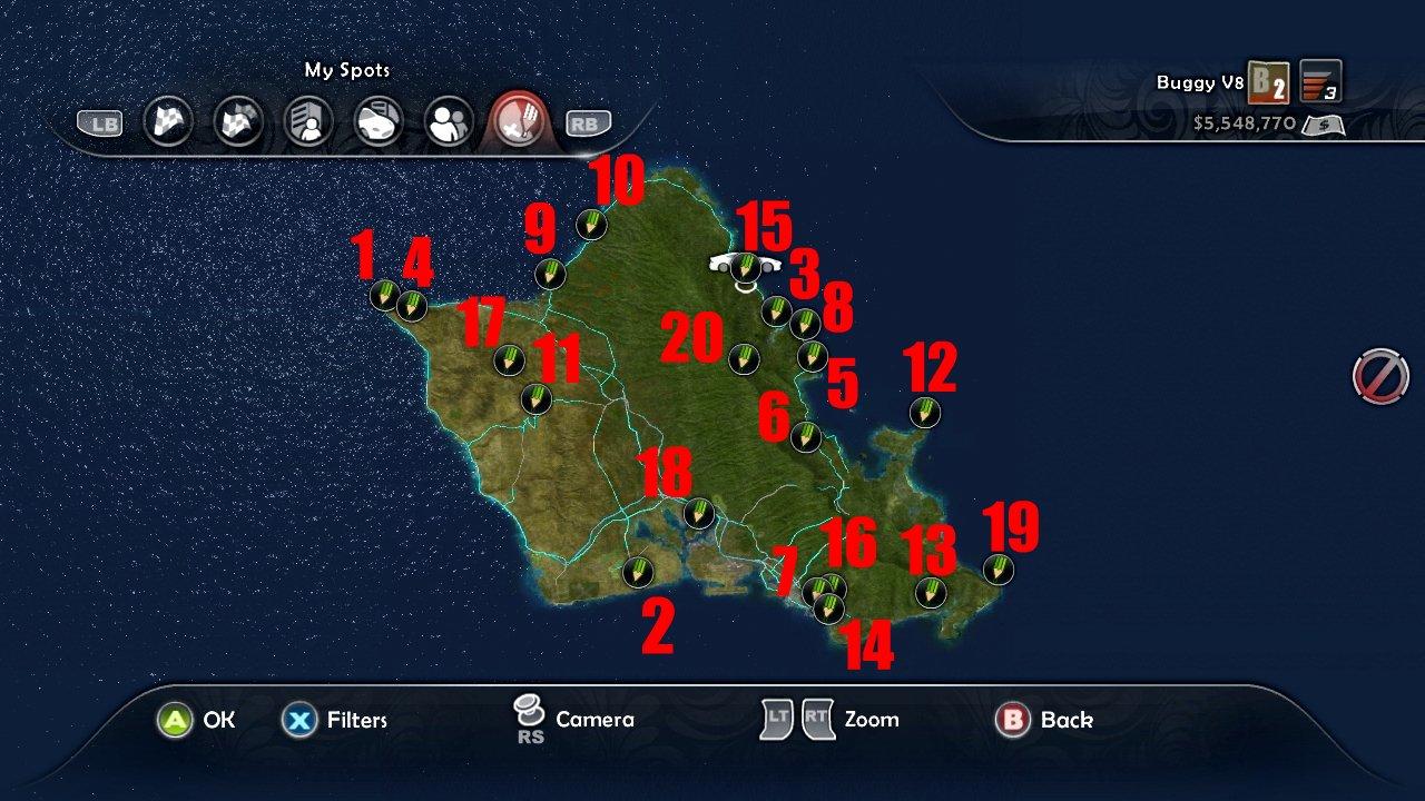 Карта Test Drive Unlimited 2 Мастерские