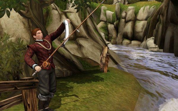 как стараться поймать рыбу во  симс 3 средневековье