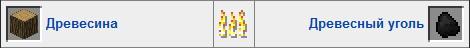 Уголь в печке Minecraft